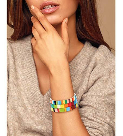 NVENF Tile Bracelets Enamel Rainbow Tile Bead Bracelets Colorblock Stackable Stretch Bracelets Bohemia Tile Strand Bangle Bracelet Set for Women Men Girls