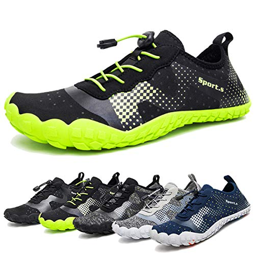 Water Shoes for Men Quick-Dry Aqua Sock Outdoor Athletic Sport Shoes for Kayaking,Boating,Hiking,Surfing,Walking (A-Black/Green, 45)