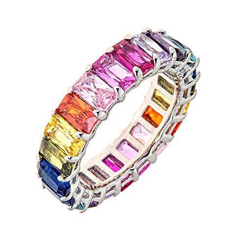 Maya J Eternity Ring - Emerald-Cut, with Artisan Fashioned Gemstones, Rainbow, Size 6