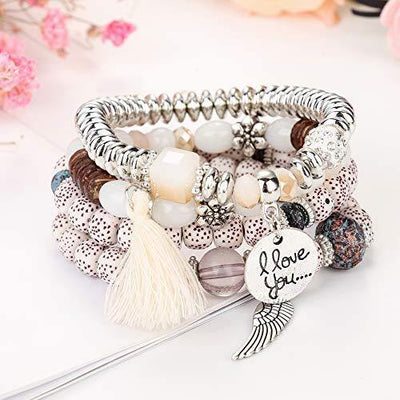 LOYALLOOK 5Sets Bohemian Stretch Beaded Bracelets for Women Crystal Beaded Strand Bangle Charm Multilayer Stackable Bracelets