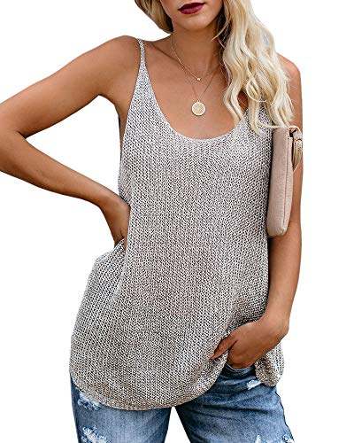 Women Oversize Scoop Neck Tank Tops Causal Sleeveless Knit Shirts Tunic Camis Loose Fashion Summer Sweater Vest Blouses Grey