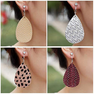 9 Pairs Faux Leather Clip on Earrings for Women Dangle- Long Teardrop Seashell Leather Clipon Earrings-Non Piercing Earrings Set for Women and Girls (#7)