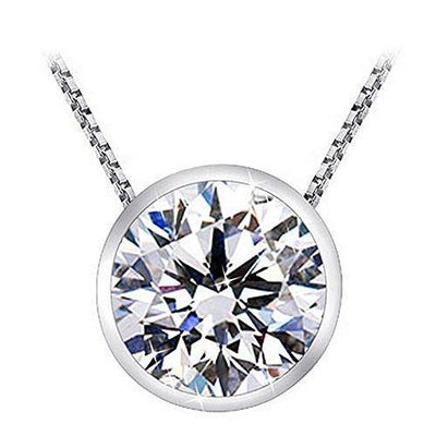 "1 Carat Bezel Set Solitaire Diamond Pendant Necklace Platinum (J, I2, 1 ctw) w/ 16"" 14K White Gold Chain"
