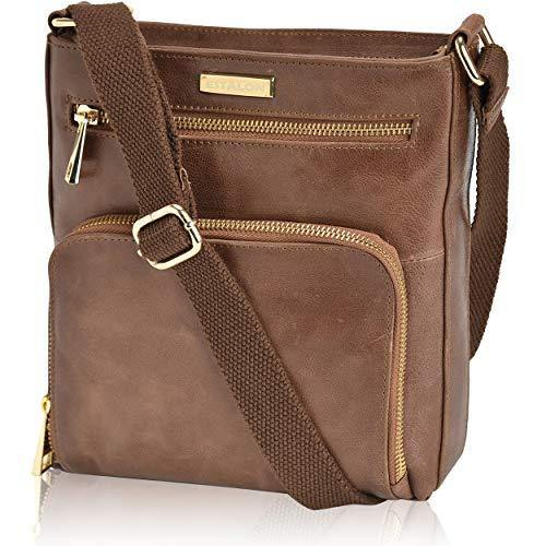 Crossbody Bags for Women - Tan Real Leather Small Vintage Over the Shoulder Bag