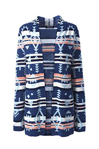 Lands' End Womens FG Ctn LS Open Cardigan Sweater Seed Back Navy Snow Heather Southwest Plus 2X