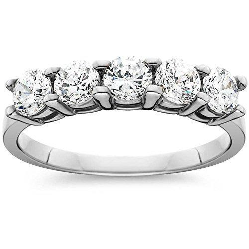 1ct Five Stone Genuine Round Diamond Wedding Anniversary Ring 14K White Gold - Size 5.5