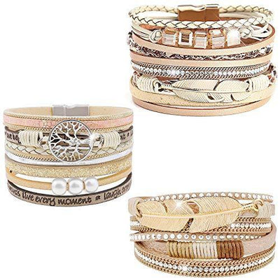 Wovanoo 3Pack Leather Cuff Bracelet Set Multilayer Wrap Bracelet Feather Magnetic Clasp Bracelet for Women 3pack