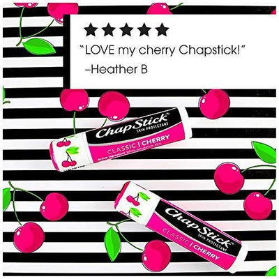 ChapStick Classic (Cherry Flavor, 0.15 Ounce, 3 Sticks) Skin Protectant Flavored Lip Balm Tube