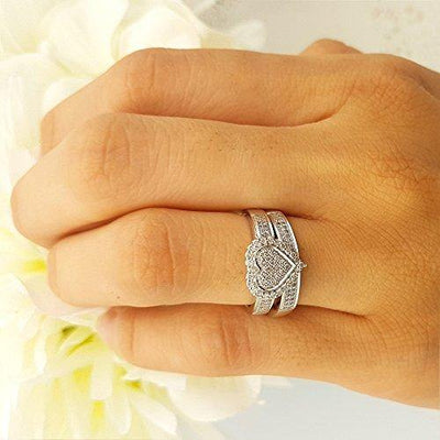 Dazzlingrock Collection 0.38 Carat (ctw) 10K Diamond Bridal Heart Shape Engagement Ring Band Set, White Gold, Size 8.5