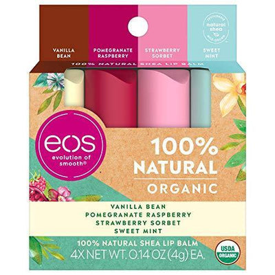 eos USDA Organic Lip Balm - Variety Pack Lip Care to Nourish Dry Lips 100% Natural and Gluten Free Long Lasting Hydration 0.14 oz 4 Pack