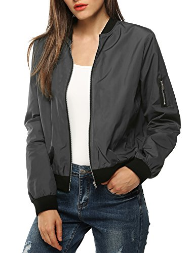 Zeagoo Womens Classic Quilted Jacket Short Bomber Jacket Coat Grey Small