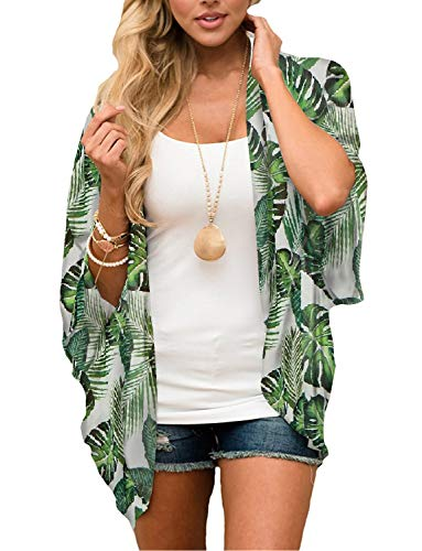 Women's Boho Green Palm Leaf Kimono Cover Ups Tropical Shirts Hawaiian Tops Summer Beach Chiffon Sheer Cardigan Blouse M