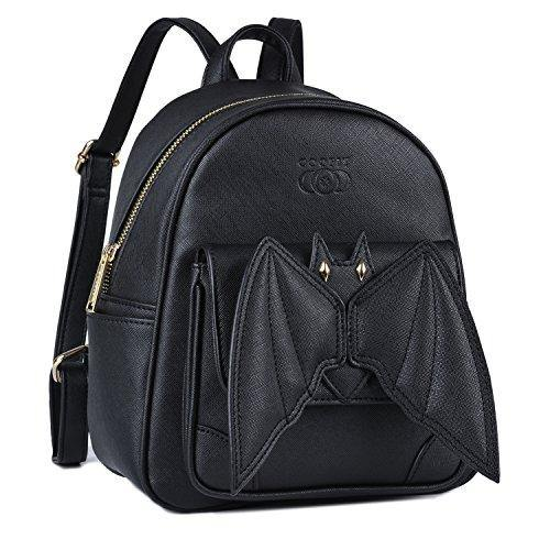 Mini Backpack, COOFIT Bat Purse Gothic Backpack Purse Goth Backpack Mini Bookbags for Women