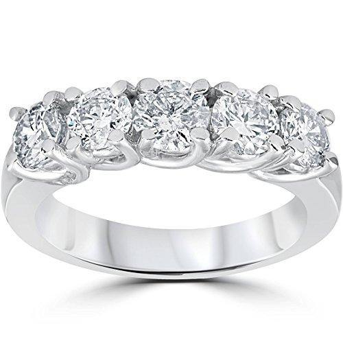 1 1/2ct Diamond Wedding Anniversary Band 14k White Gold Ring - Size 7
