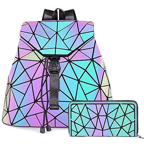 HotOne Geometric Luminous Purses and Handbags Shard Lattice Eco-friendly Leather Holographic Purse (Backpack 3191+Zipper Wallet)