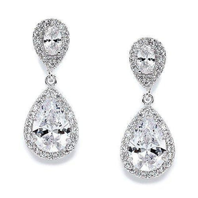 Mariell CZ Teardrop Clip On Wedding Earrings, Dainty Pear-Shaped Cubic Zirconia Dangle Clip-On for Brides