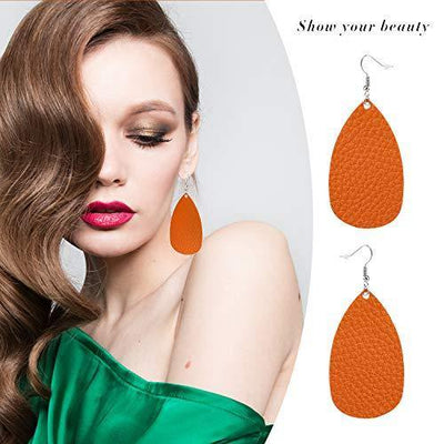 30 Pairs of Teardrop Double-sided Leather Earrings with 30 Color for Women Girls Jewelry Fashion and Valentine Birthday Party Gift
