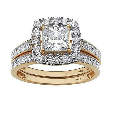 18K Yellow Gold over Sterling Silver Princess Cut Cubic Zirconia Halo Bridal Ring Set Size 5