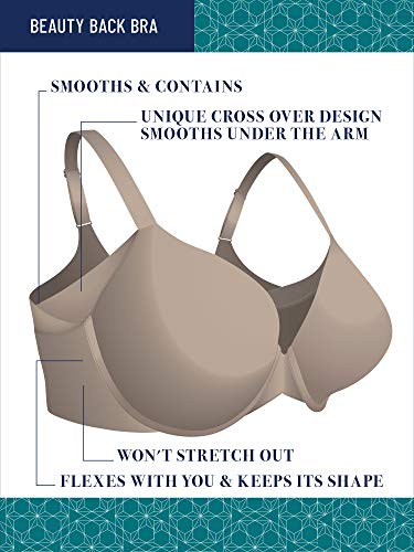 Vanity Fair Women's Beauty Back Wirefree Bra, Full Figure with Side Smoothing - Beige, 44B