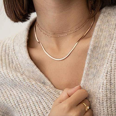 Turandoss Dainty Gold Thick Snake Choker - 14K Gold Flat Herringbone Chaine Necklace Snake Chain Choker Necklaces for Women