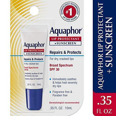 Aquaphor Lip Protectant and Sunscreen Ointment - Broad Spectrum SPF 30 - Relieves Chapped Lips - .35 fl. Oz. Tube