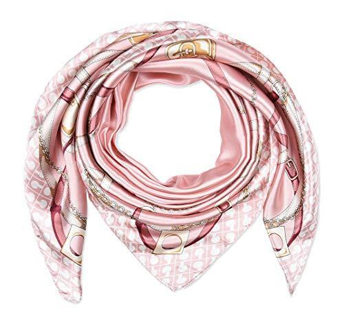 "Corciova 35"" Women Polyester Silk Feeling Hair Scarf for Sleeping Pale Pink Chains and Belts"