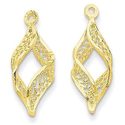 Finejewelers 14k Yellow Gold Polished Filigree Swirl Earring Jackets