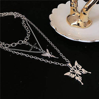 Butterfly Lock Key Pendant Chains Necklace Angel Layered Choker Emo Aesthetic Chunky Chains Jewelry for Eboy Egirl Women Men