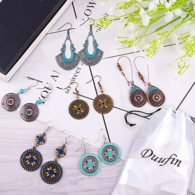 Duufin 20 Pairs Bohemian Vintage Drop Dangle Earrings Boho Earrings Set Statement Earrings National Style Alloy Long Boho Dangle Earrings for Women Girls