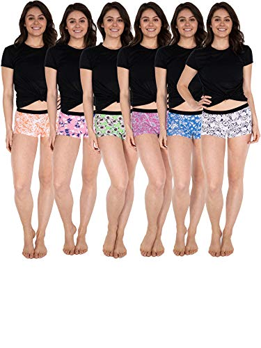 Sexy Basics Women's 6 & 12 Pack Modern Active Boy Short Boxer Brief Panties (6 Pack- Modern Floral, X-Small)