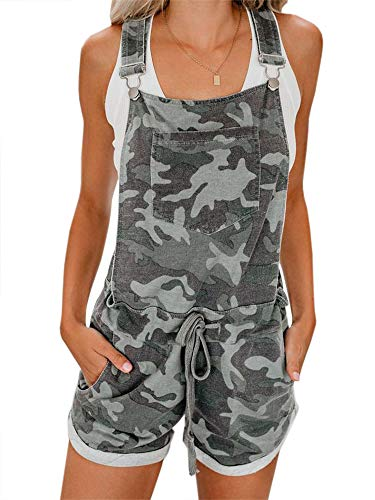 Women's Bib Overall Shorts Summer Casual Camo Elastic Waist Comfy Fit Playsuit (E-Army Green, Medium)