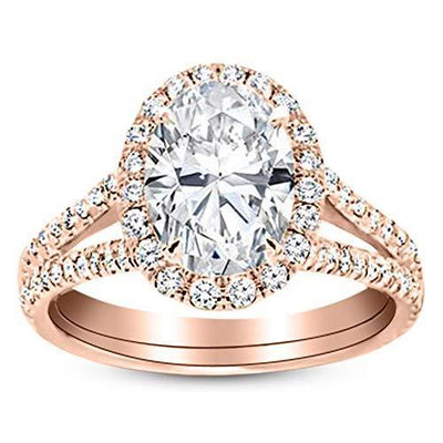 1.5 Ctw Oval Cut Split Shank 14K Rose Gold Diamond Engagement Ring (H-I Color I1-I2 Clarity 1 Ct Center)