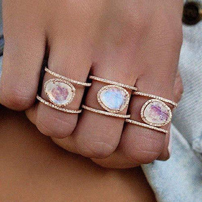 Weishu New Irregular Natural Moonstone Ring Plated in 14k Rose Gold Yellow Gold White Gold Micro-Inset Finger Ring (US Code 6)