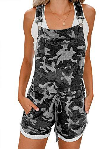 chimikeey Women's Casual Summer Camo Short Overall Jumpsuit Striped Front Flap Pocket Short Romper (Medium, 3Black) - PRTYA