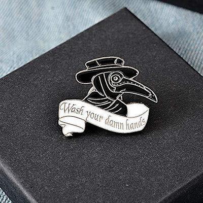 "Plague Doctor Enamel Pin Set,Beak Face Steampunk Brooches Cartoon Badge for Bag Lapel Pin Buckle Jewelry Gift (""wash your hand"" enamel pinn)"