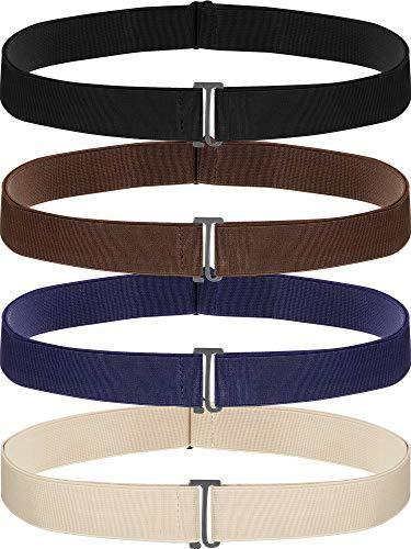 4 Pack Women No Show Invisible Belt Elastic Stretch Waist Belt with Flat Buckle (Black Blue Khaki Brown)