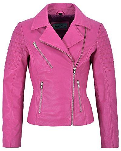 "Mila Kunis Ladies Leather Jacket Stylish Fashion Designer Soft Biker Style 9334 (18 for Bust 40"", Pink)"