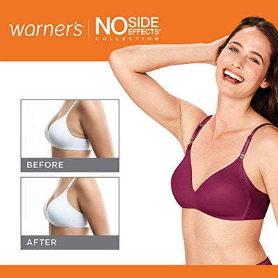 Warner's Women's No Side Effects Wire-Free Contour Bra, White, 36D