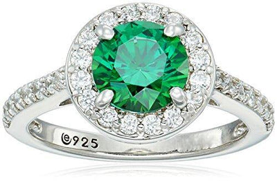 Platinum-Plated Sterling Silver Round-Cut Fancy Green Halo Ring made with Swarovski Zirconia, Size 7