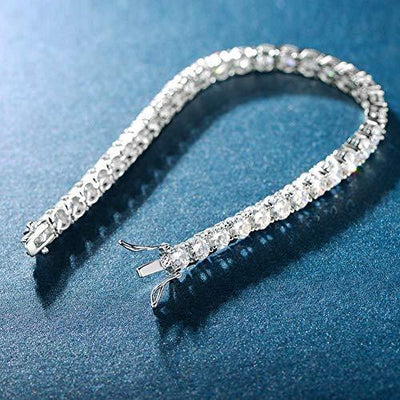MDFUN 14k White Gold Plated Cubic Zirconia Tennis Bracelet for Women (4mm)
