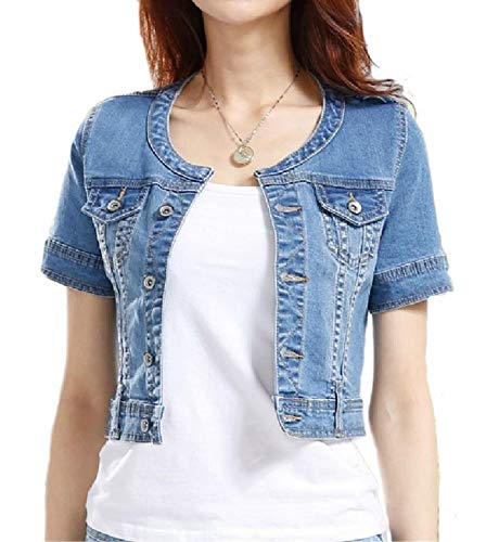 Fundu Women's Blue Sweet Summer Cool Denim Crew-Neck Short Sleeve Top Jacket US 12