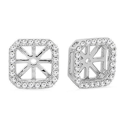 0.26 Carat (ctw) Round White Diamond Removable Jackets For Stud Earrings 1/4 CT, 14K White Gold