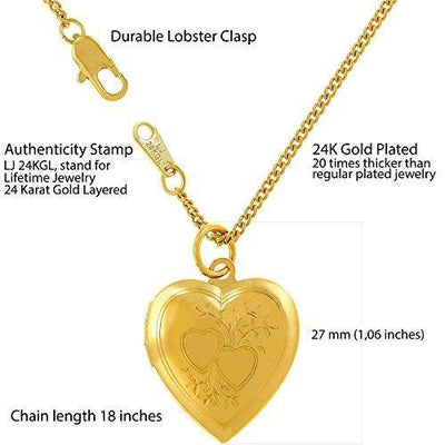 "Lifetime Jewelry Photo Locket for Women and Girls [ Two Hearts ] - 20X More Real 24k Gold Plating Than Other Heart Locket Necklaces That Hold Pictures (Yellow Gold Pendant with 18"" Chain)"