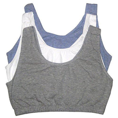 Fruit of the Loom Womens Tank Style Sports Bra, Grey Heather/White/Blue Heather - 3 Pack, 40
