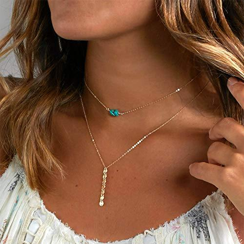 Jovono Blue Boho Multilayered Choker Necklaces Turquoise Sequin Pendant Necklace Chain Jewelry for Women and Girls (Gold)