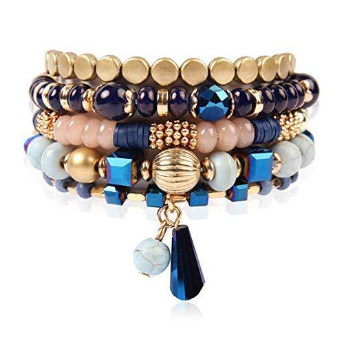 RIAH FASHION Bohemian Mix Bead Multi Layer Versatile Statement Bracelets - Stackable Beaded Strand Stretch Bangles Sparkly Crystal, Tassel Charm (Navy)