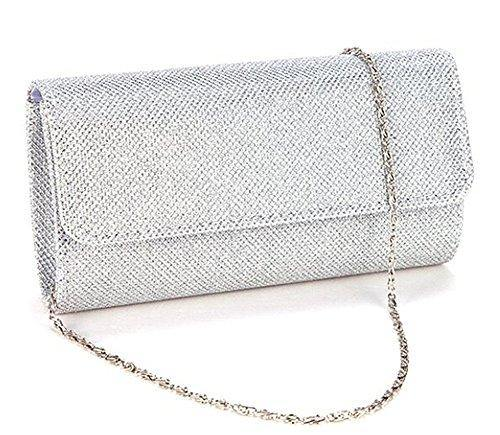 Evening Bag Clutch Purses for Women,iSbaby Ladies Sparkling Party Handbag Wedding Bag, Silver, Large