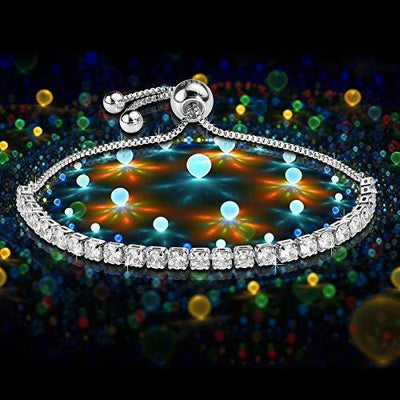 J.Fée Women S925 Sterling Silver Bracelet Adjustable Crystal Tennis Bracelet Diamond Zirconia Bracelet for Women Wife Girls Gift Bracelet Gift Box Bridesmaid banquet Girlfriend gift