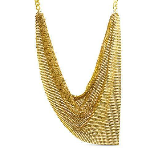 Steve Madden Yellow Gold Plated Metal Mesh Chain Bib Statement Necklace for Women