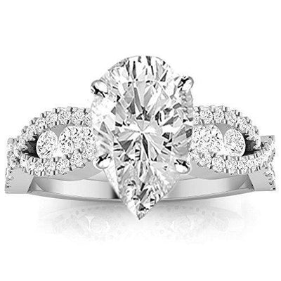 1.25 Ctw Pear Cut Designer Twisting Eternity Channel Set Four Prong 14K White Gold Diamond Engagement Ring (H-I Color SI2-I1 Clarity 0.75 Ct Center)